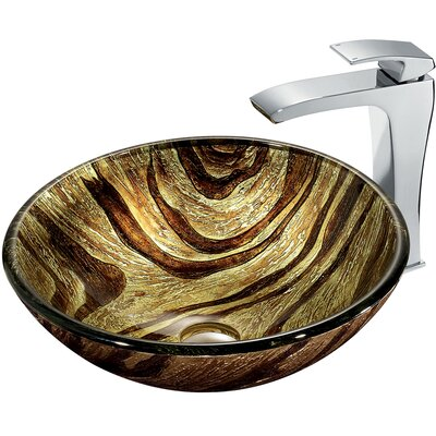 Zebra Glass Circular Vessel Bathroom Sink