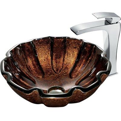 Mediterranean Seashell Glass Circular Vessel Bathroom Sink Sink Finish: Brown, Faucet Sink Finish: Chrome