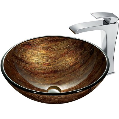 Glass Circular Vessel Bathroom Sink with Faucet Sink Finish: Amber Sunset, Faucet Finish: Chrome