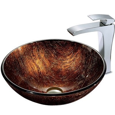 VGT185 Kenyan Twilight Glass Vessel Sink and Faucet Set in 320779