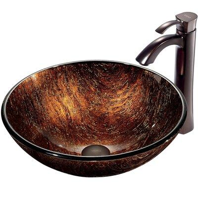 Kenyan Twilight Glass Circular Vessel Bathroom Sink