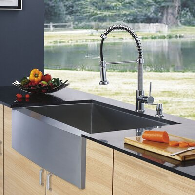 Farmhouse Single Bowl Kitchen Sink with Faucet and Soap Dispenser in Satin