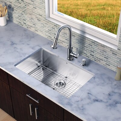 32 inch Undermount Single Bowl 16 Gauge Stainless Steel Kitchen Sink with Astor Stainless Steel Faucet, Grid, Strainer and Soap Dispenser