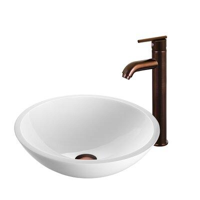 Flat Edged White Phoenix Stone Circular Vessel Bathroom Sink Faucet Finish: Oil Rubbed Bronze