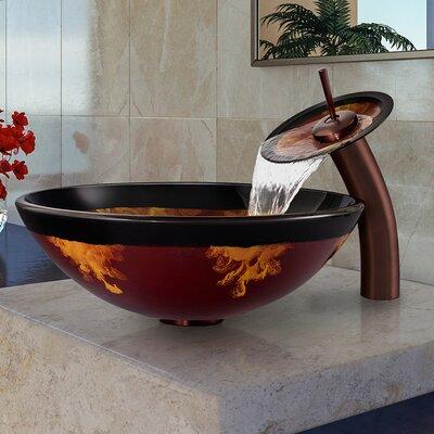 Auburn/Mocha Fusion Glass Circular Vessel Bathroom Sink Faucet Sink Finish: Oil Rubbed Bronze