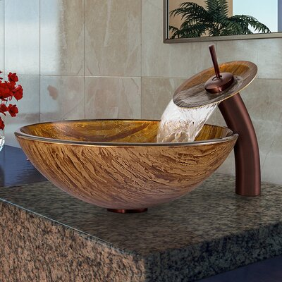 Amber Sunset Glass Circular Vessel Bathroom Sink with Faucet Faucet Sink Finish: Oil Rubbed Bronze