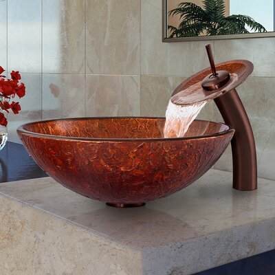 Mahogany Moon Glass Circular Vessel Bathroom Sink Faucet Sink Finish: Oil Rubbed Bronze