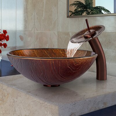 Kenyan Twilight Glass Circular Vessel Bathroom Sink Faucet Sink Finish: Oil Rubbed Bronze