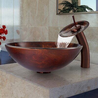 Brown and Gold Fusion Glass Circular Vessel Bathroom Sink Faucet Sink Finish: Oil Rubbed Bronze