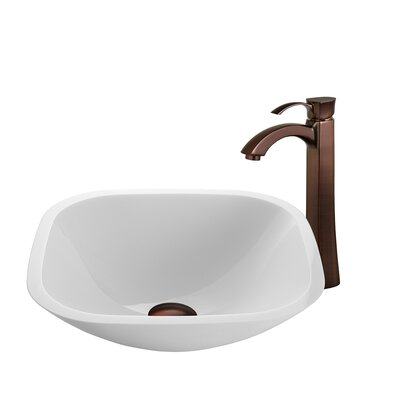 White Phoenix Glass Square Vessel Bathroom Sink with Faucet