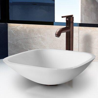 White Phoenix Stone Square Vessel Bathroom Sink Faucet Finish: Oil Rubbed Bronze