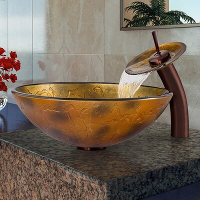 Copper Shapes Glass Circular Vessel Bathroom Sink Faucet Sink Finish: Oil Rubbed Bronze