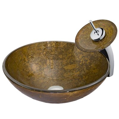 Textured Copper Glass Circular Vessel Bathroom Sink Faucet Sink Finish: Chrome