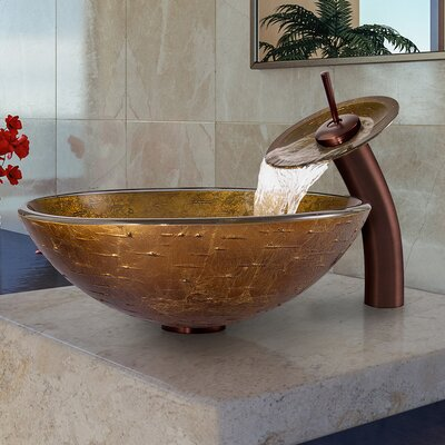 Textured Copper Glass Circular Vessel Bathroom Sink Faucet Sink Finish: Oil Rubbed Bronze