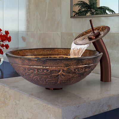 Golden Greek Glass Circular Vessel Bathroom Sink Faucet Sink Finish: Oil Rubbed Bronze