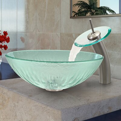Icicles Glass Circular Vessel Bathroom Sink Faucet Sink Finish: Brushed Nickel
