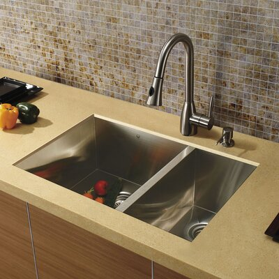 29 inch Undermount 70/30 Double 16 Gauge Stainless Steel Kitchen Sink with Aylesbury Stainless Steel Faucet, Two Grids, Two Strainers and Soap Dispenser
