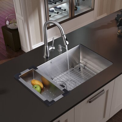 32 inch Undermount Single Bowl 16 Gauge Stainless Steel Kitchen Sink with Aylesbury Stainless Steel Faucet, Grid, Strainer, Colander and Soap Dispenser
