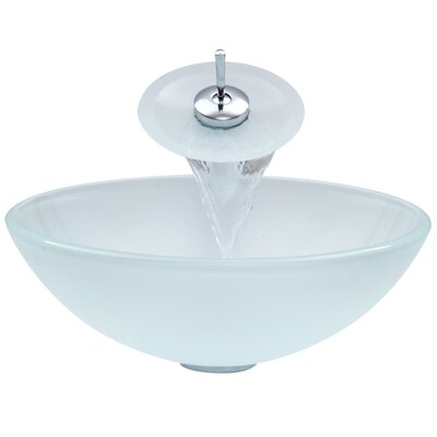 Glass Circular Vessel Bathroom Sink with Faucet Finish: White Frost, Faucet Finish: Chrome