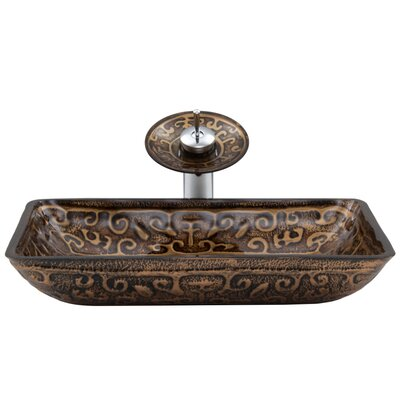 Greek Glass Rectangular Vessel Bathroom Sink with Faucet Faucet Finish: Chrome/Brown