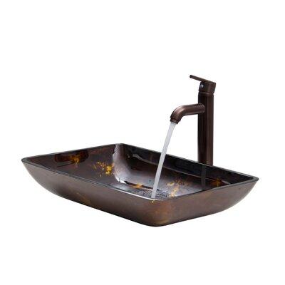 Russet Glass Rectangula Vessel Bathroom Sink Finish: Fusion