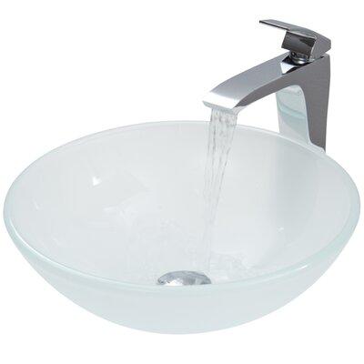 Sheer Black Glass Circular Vessel Bathroom Sink Finish: White Frost