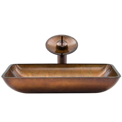 Russet Glass Rectangular Vessel Bathroom Sink with Faucet Sink Finish: Russet, Faucet Finish: Oil Rubbed Bronze