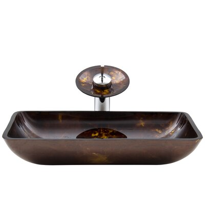 Russet Glass Rectangular Vessel Bathroom Sink with Faucet Sink Finish: Fusion, Faucet Finish: Chrome