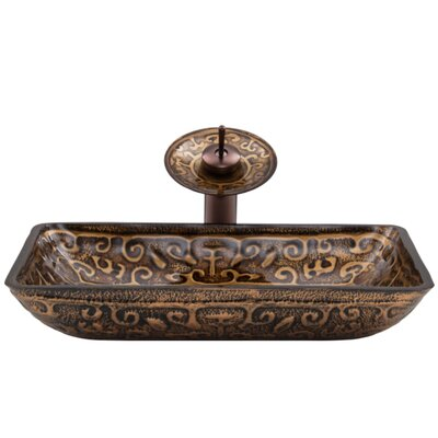 Greek Glass Rectangular Vessel Bathroom Sink with Faucet Faucet Finish: Oil Rubbed Bronze/Brown