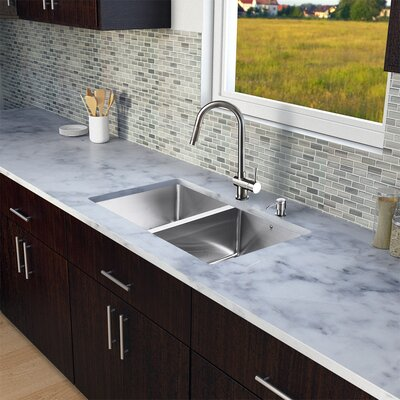 29 inch Undermount 50/50 Double Bowl 16 Gauge Stainless Steel Kitchen Sink with Gramercy Stainless Steel Faucet, Two Grids, Two Strainers and Soap Dispenser