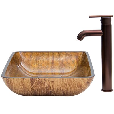 Fusion Rectangular Vessel Bathroom Sink Finish: Amber Sunset