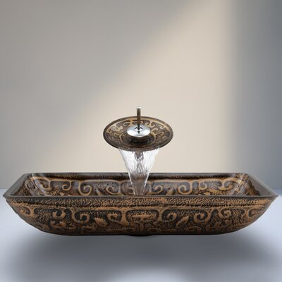 Greek Glass Rectangular Vessel Bathroom Sink Faucet Finish: Chrome