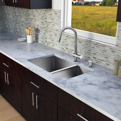 29 x 20 Double Basin Undermount Kitchen Sink with Faucet, Grid, Strainer and Soap Dispenser