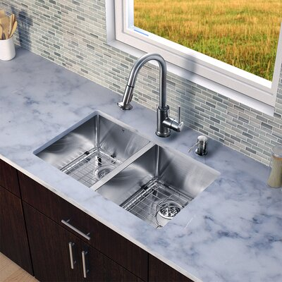 29 inch Undermount 50/50 Double Bowl 16 Gauge Stainless Steel Kitchen Sink with Astor Stainless Steel Faucet, Two Grids, Two Strainers and Soap Dispenser