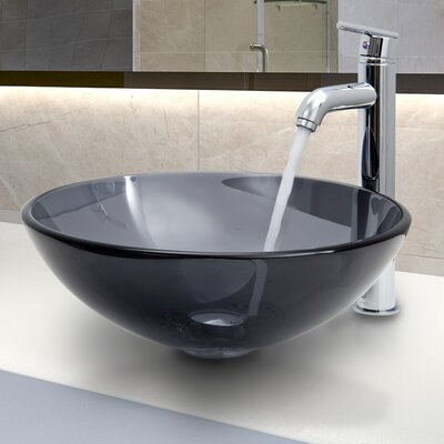 Glass Circular Vessel Bathroom Sink with Faucet Finish: Sheer Black