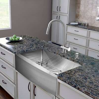 30 x 22 Farmhouse Kitchen Sink with Faucet, Grid, Strainer and Soap Dispenser