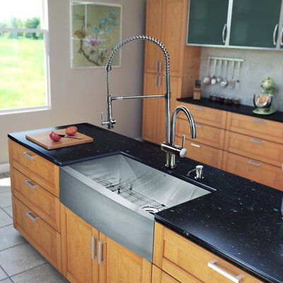33 inch Farmhouse Apron Single Bowl 16 Gauge Stainless Steel Kitchen Sink with Dresden Stainless Steel Faucet, Grid, Strainer and Soap Dispenser