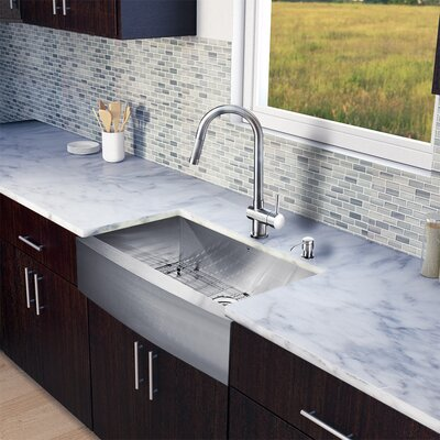 33 inch Farmhouse Apron Single Bowl 16 Gauge Stainless Steel Kitchen Sink with Gramercy Stainless Steel Faucet, Grid, Strainer and Soap Dispenser