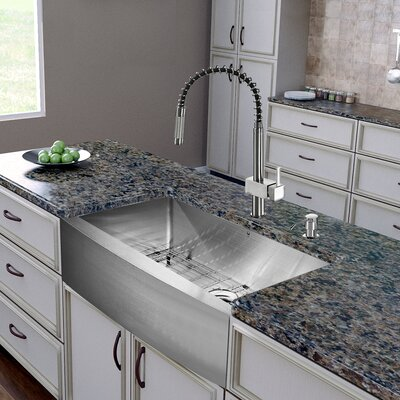 30 inch Farmhouse Apron Single Bowl 16 Gauge Stainless Steel Kitchen Sink with Lincroft Stainless Steel Faucet, Grid, Strainer and Soap Dispenser