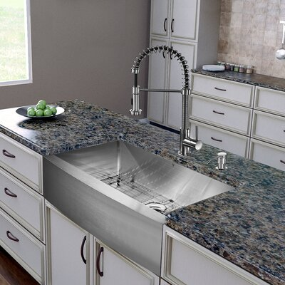 36 inch Farmhouse Apron Single Bowl 16 Gauge Stainless Steel Kitchen Sink with Edison Stainless Steel Faucet, Grid, Strainer and Soap Dispenser
