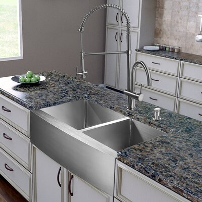 All in One 36 x 22 Double Basin Farmhouse Apron Kitchen Sink with Faucet, Two Grids, Two Strainers and Soap Dispenser