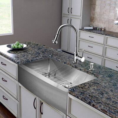 36 inch Farmhouse Apron Single Bowl 16 Gauge Stainless Steel Kitchen Sink with Harrison Chrome Faucet, Grid, Strainer and Soap Dispenser