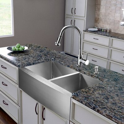 36 inch Farmhouse Apron 60/40 Double Bowl 16 Gauge Stainless Steel Kitchen Sink with Harrison Chrome Faucet, Two Grids, Two Strainers and Soap Dispenser