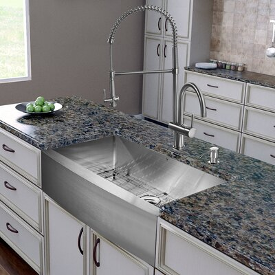 36 inch Farmhouse Apron Single Bowl 16 Gauge Stainless Steel Kitchen Sink with Dresden Stainless Steel Faucet, Grid, Strainer and Soap Dispenser