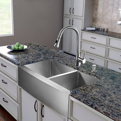 36 inch Farmhouse Apron 60/40 Double Bowl 16 Gauge Stainless Steel Kitchen Sink with Aylesbury Stainless Steel Faucet, Two Grids, Two Strainers and Soap Dispenser