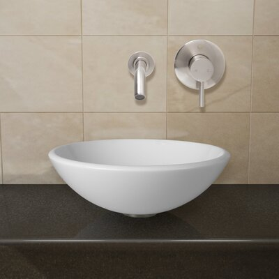 Phoenix Glass Circular Vessel Bathroom Sink with Faucet Faucet Finish: Brushed Nickel