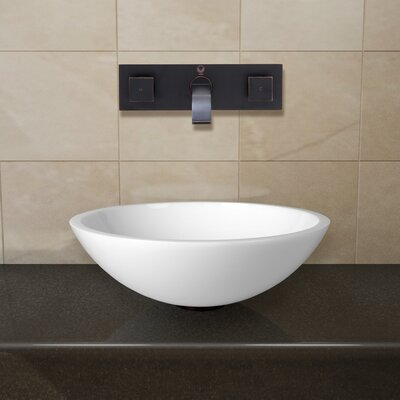 Phoenix Glass Circular Vessel Bathroom Sink with Faucet Faucet Finish: Antique Rubbed Bronze