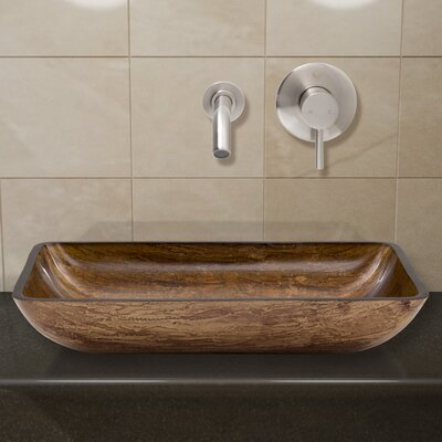 Amber Sunset Glass Rectangular Vessel Bathroom Sink Faucet Finish: Brushed Nickel