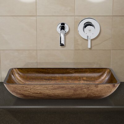 Amber Sunset Glass Rectangular Vessel Bathroom Sink with Faucet Faucet Finish: Chrome