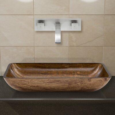 Amber Sunset Glass Rectangular Vessel Bathroom Sink Faucet Finish: Brushed Nickel